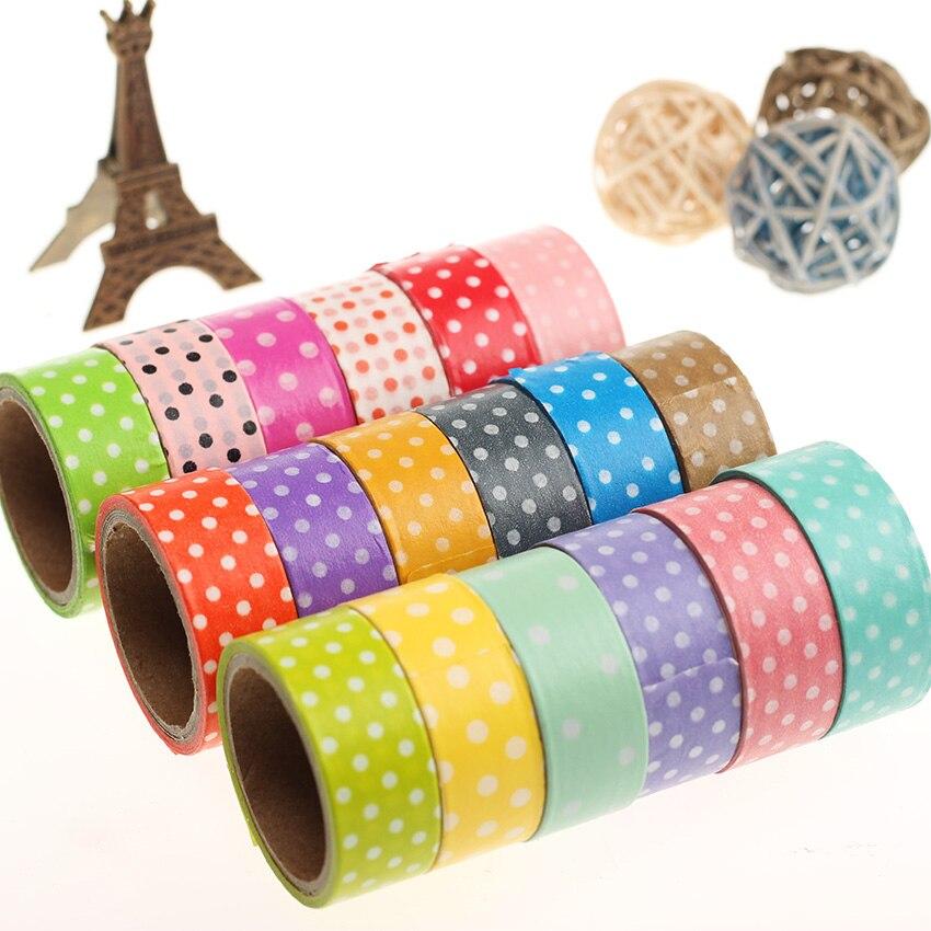 1 PC Candy Color Polka Dots Masking Tape Washi Packing Adhesive Tape Stationery Decorative Washi Tape Multicolor Random