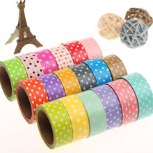 1 PC Candy Kleur Stippen Afplakband Washi Verpakking Plakband Briefpapier Decoratieve Washi Tape Multicolor Willekeurige(China)
