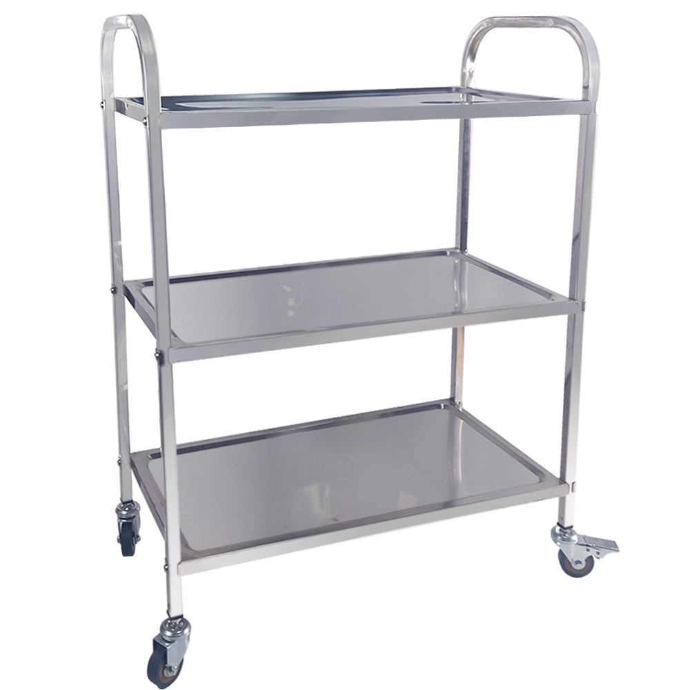 Stainless Steel 3 Tier Trolley Cart with PVC Rolling Wheels Large Kitchen Shelf Trolley for Catering Restaurant Bearing 100kg