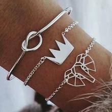 3pcs/Set Charm Bracelets Set Retro Fashion Women Elephant knotted Bangle Crown Bracelet Personality Party Jewelry Gifts