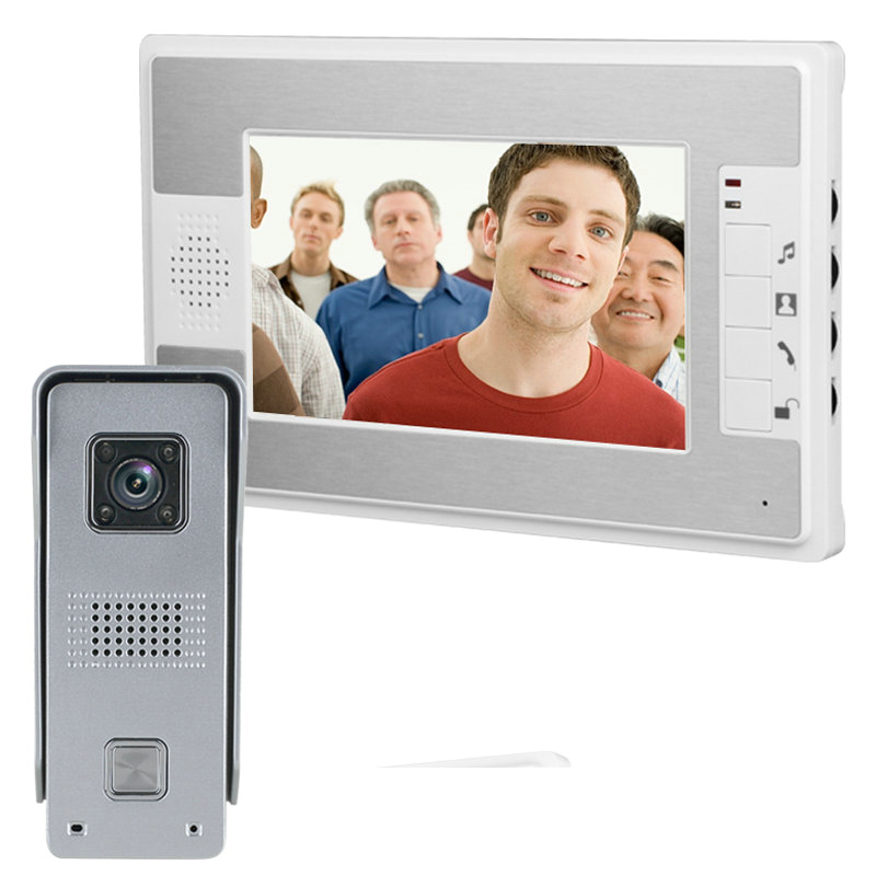 цена на 7 Inch Video Door Phone Doorbell Intercom Kit 1-camera 1-monitor Night Vision rainproof function