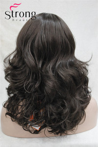 Image 4 - StrongBeauty Medium Length Wavy Dark Brown Full Synthetic Wig Womens Wigs COLOUR CHOICES