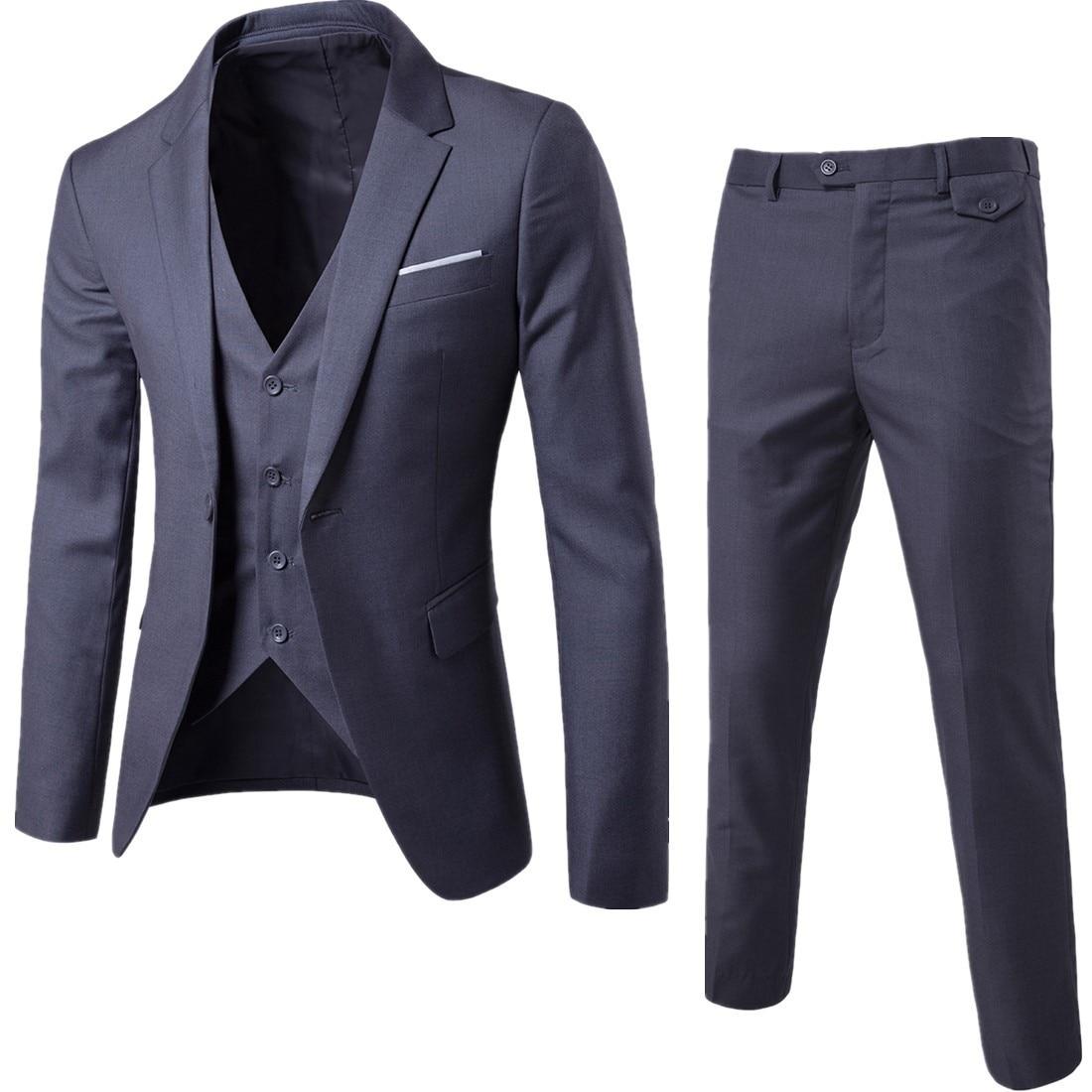 2020 di Autunno Della Molla di Affari Del Mens Casual Vestito (3 Pezzi/set) di Grandi Dimensioni, Più Fertilizzanti Singolo Fibbia Vestito Sottile Del Vestito da Sera 6XL