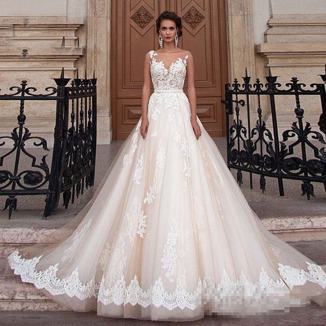 Transparent Scoop Champagne Wedding Dresses with Detachable Beading Sash Lace Applique Sleeveless Backless Bridal Gowns 2021 1