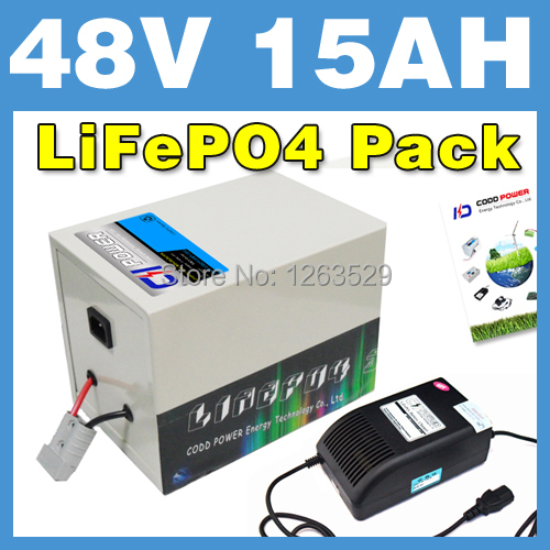2016 New 48V 15AH LiFePO4 Battery Rear rack BOX Lithium Battery Electric Scooter Pack E bike Free Shipping