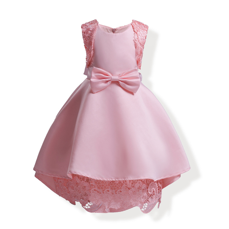 купить Girls Pink Lace Bow Dress Children Princess Party Frocks For Wedding Birthday European American Style Kids Clothing GD14 дешево