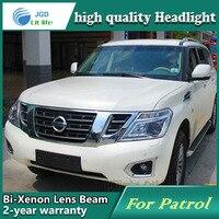 Автомобиль голове стиль лампы для Nissan Patrol 2014 Фары для автомобиля светодиодные фары DRL Объектив Двойной Луч Биксеноновая HID автомобиль Интим