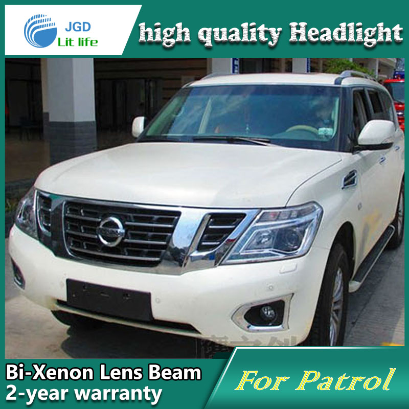Car Styling Head Lamp case for Nissan Patrol 2014 Headlights LED Headlight DRL Lens Double Beam Bi-Xenon HID car Accessories hireno headlamp for 2016 hyundai elantra headlight assembly led drl angel lens double beam hid xenon 2pcs