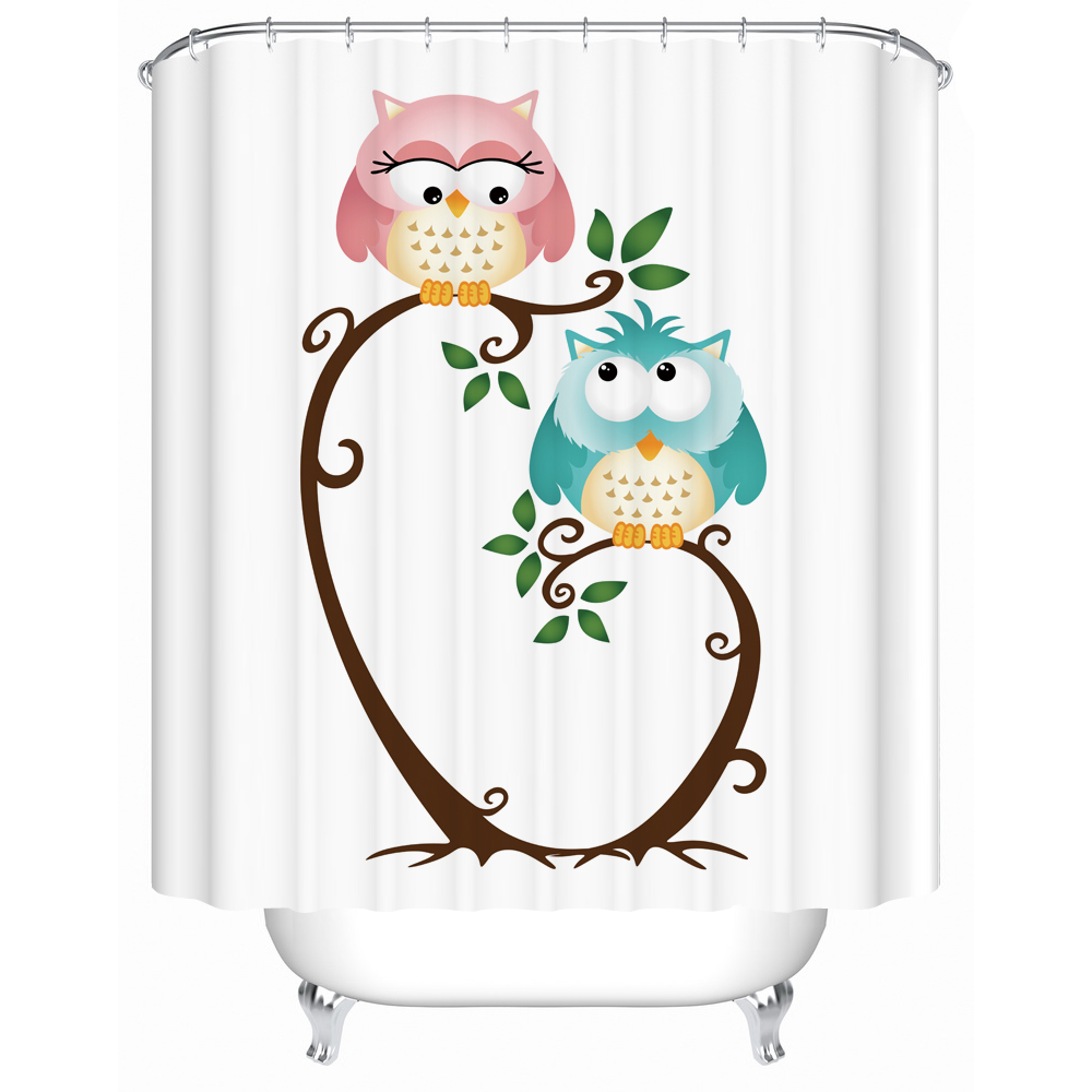Fabric Shower Curtains Bathroom Curtain Owls Pattern for Kids Bathroom  Decoration Accessory Set with 12 Rings. Compare Prices on Bathroom Curtain Patterns  Online Shopping Buy