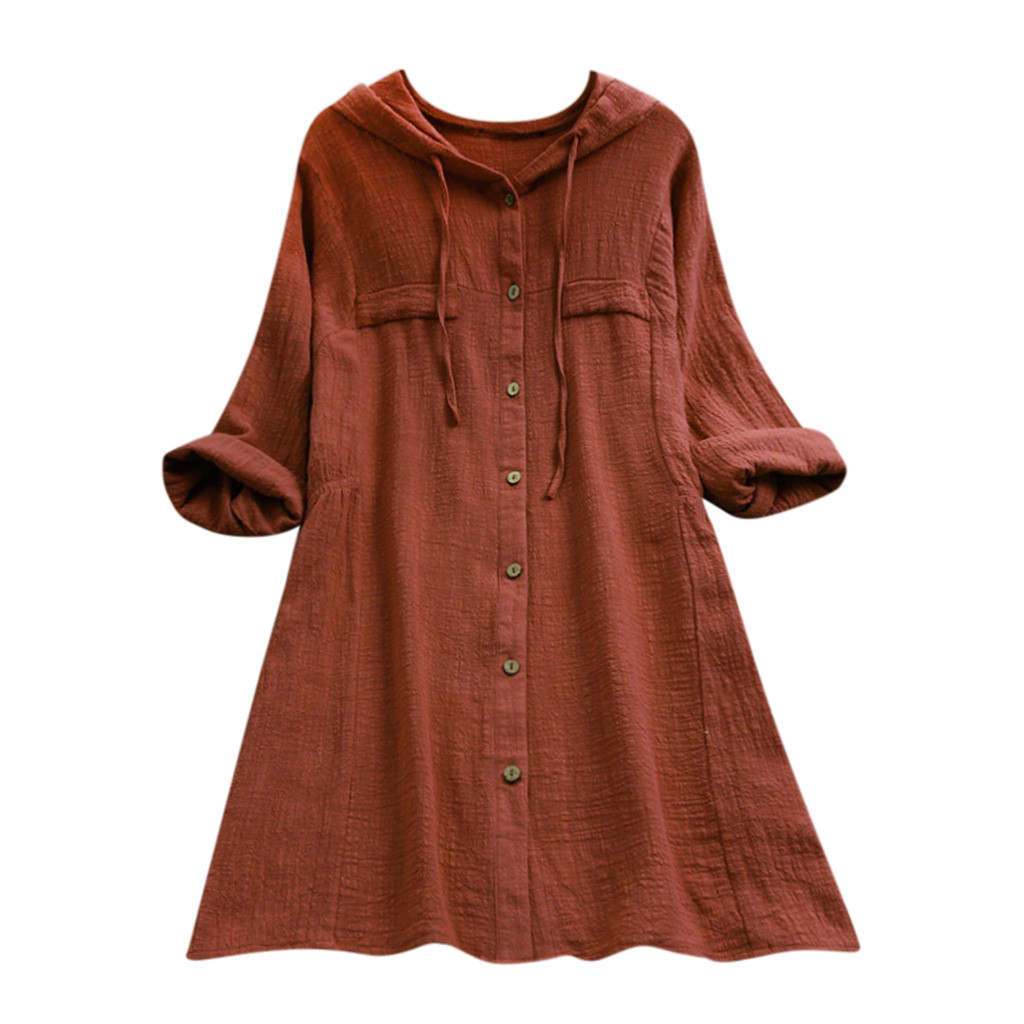 Ladies Autumn Solid Colour Loose Mini Dresses T-Shirt Dress Fashion Womens Cotton Linen Tops Long Sleeve Hollow Out Long Top for Party Plus Size UK 8-22