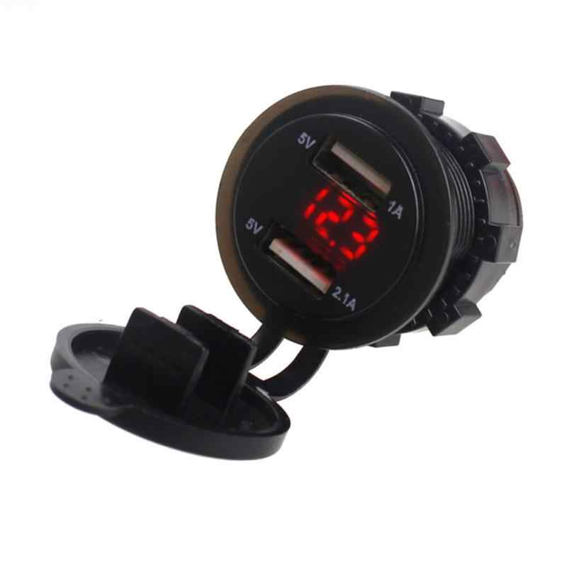 Car Auto Motorcycle Dual USB Charger Cigarette Lighter Socket Voltmeter Charger