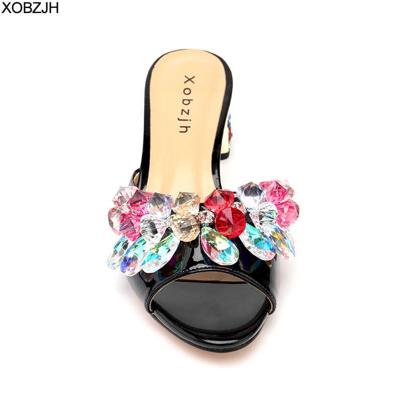 Las mujeres tacones sandalias de verano 2019 abierto del dedo del pie de lujo de las señoras de cuero de diamantes de imitación boda Praty negro zapatos de mujer más tamaño