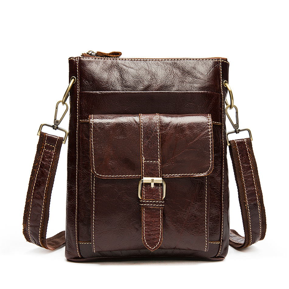 8091 leather bag man first layer leather casual Leather Bag Satchel postman vertical messenger bag