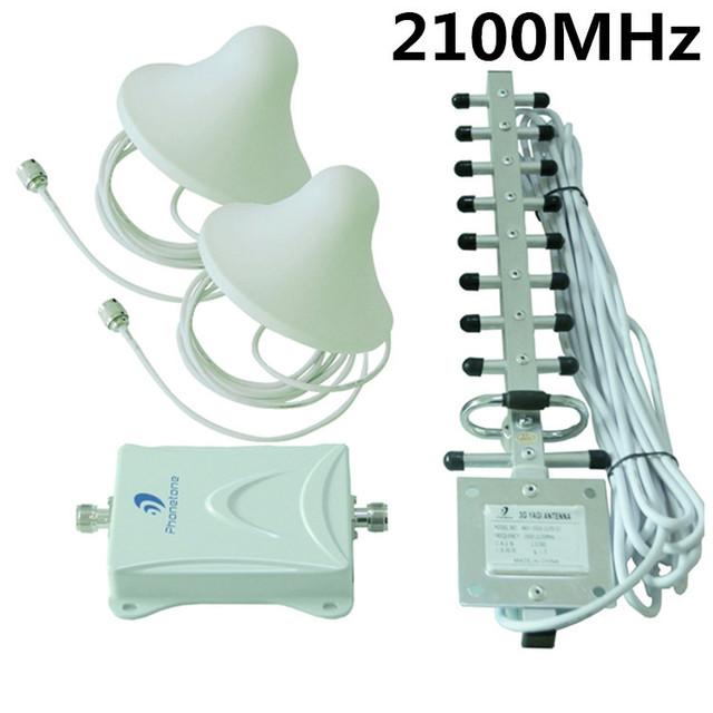 2100 MHz UMTS 3 G repetidor del teléfono celular Kit completo 65db 4 G LTE señal Booster + 3 + antena divisor de la energía + envío gratuito