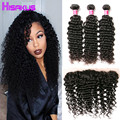 Peruvian Deep Wave With Closure 3 Bundles With Closure Deep Wave 13x4 Lace Frontal With Bundles Peruvian Curly Hair With Closure