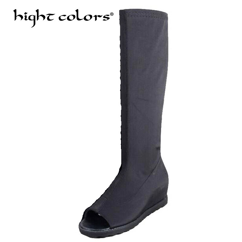 Women Knee High Boots Stretch Fabric Thigh High Boots 2017 Autumn Black Ladies Fashion High Heels Boots Shoes Woman