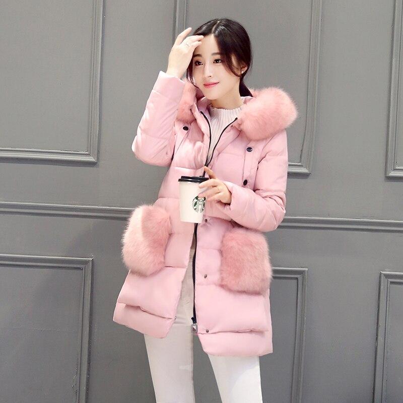 2016 Sıcak Kış Kadın Kalın Büyük Kürk Yaka Kapşonlu Kore Uzun Aşağı Ceketler Parkas Bayanlar Palto Kabanlar Coat JBD07