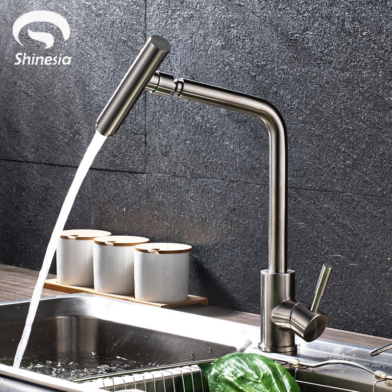 Stainless Steel Kitchen Sink Faucet 360 Degree Rotating Spout Faucet Hot & Cold Water Mixer Tap Deck Mounted chrome kitchen sink faucet 360 degree rotating spout faucet hot and cold water mixer tap deck mounted