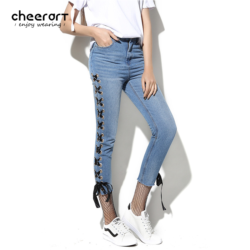 Cheerart 2017 Bandage Jeans Woman High Waist Summer Ankle Length Pencil Skinny Denim Jeans With Metal Ring Fashion Women Femme ring denim jeans