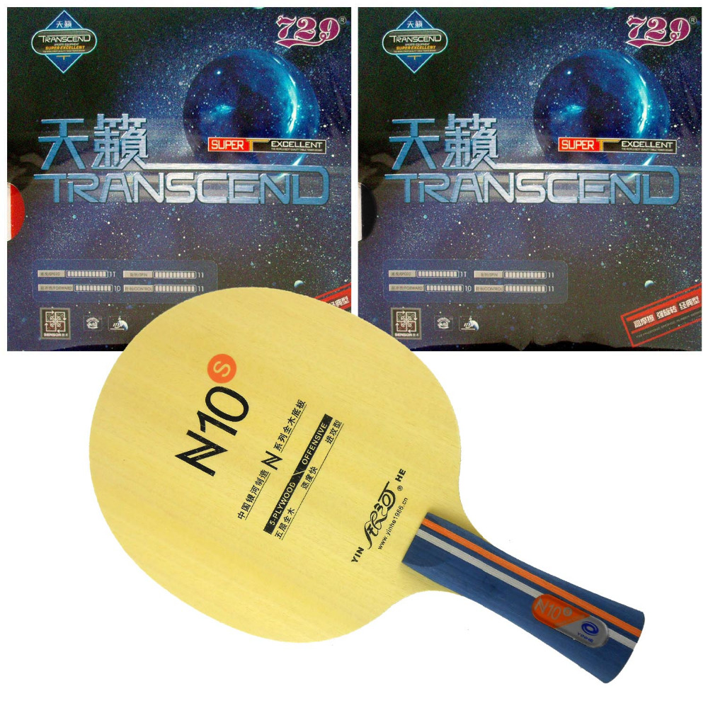 Pro Table Tennis PingPong Combo Racket Yinhe N10s with 2 Pcs 729 Transcend Cream Rubber Shakehand