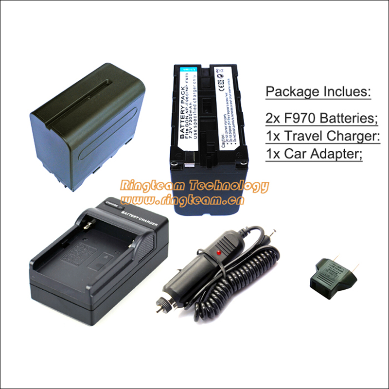 NP-F970 F950 Battery & Charger Kit for Monitor LED Lamp Sony Camcorder (4-In-1) 2x Battery + 1x Travel Charger  + 1x Car Adapter sony np bg1 battery