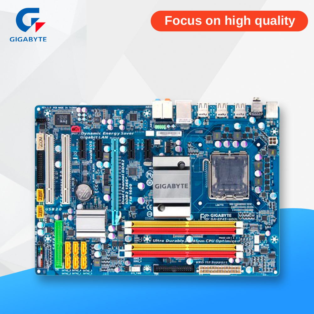 Gigabyte GA-EP45-UD3L Desktop Motherboard EP45-UD3L P45 LGA 775 DDR2 16G SATA2 USB2.0 ATX gigabyte ga ep45 ud3l original used desktop motherboard ep45 ud3l p45 lga 775 ddr2 16g sata2 usb2 0 atx