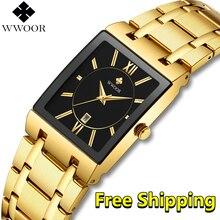 Uhr Männer Luxus Marke 2019 Neue WWOOR Gold business Quadrat Uhr Mann Quarz Armbanduhr Männer Wasserdicht Goldene relogio masculino