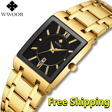 Watch Men Luxury Brand 2019 New WWOOR Gold business Square Watch Man Quartz Wristwatch Men Waterproof Golden relogio masculino