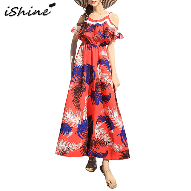 Boho Style Orange Beach Long Dress Women V Neck Spaghetti Strap Flounced Leaves Print Dresses