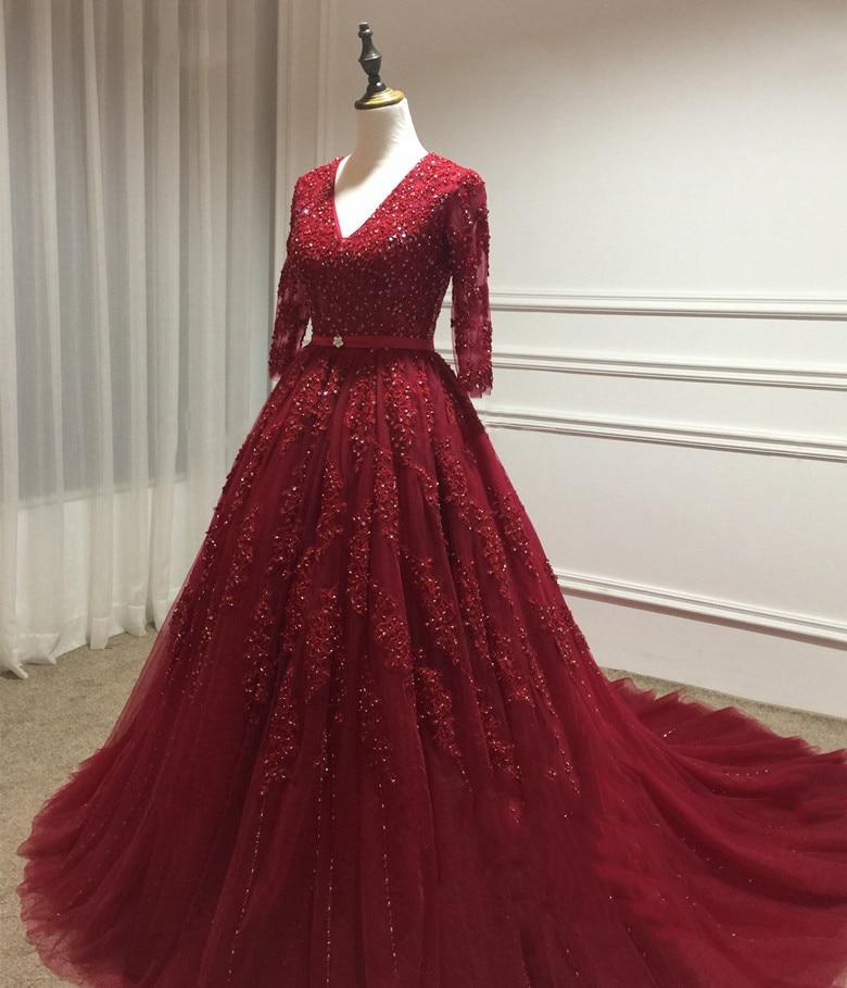 Luxury Red/Burgundy Evening Dresses 2017 V Neck Lace Beaded Ball ...