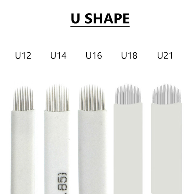 100pcs White Tattoo Needle U Shape U12/U14/U16/U18/U21 Eyebrow Tattoo Microblading Blades For Permanent Makeup