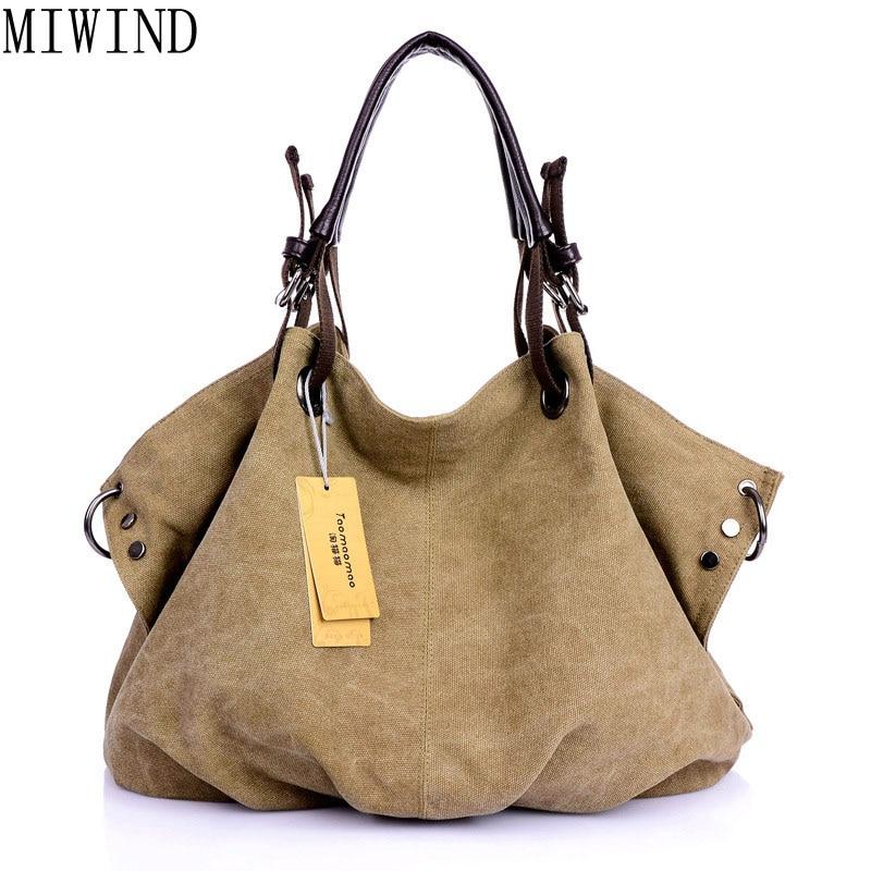 Big Canvas Bag Large Hobos Bag Totes Solid Shoulder Bag Travel Bag TBZ619