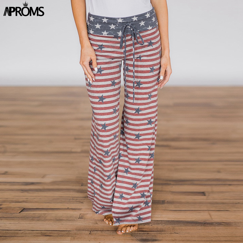 Aproms Elegant Striped Print   Wide     Leg     Pants   Women Summer 2019 Lounge Wear High Waist   Pants   Elastic Casual Drawstring Trousers