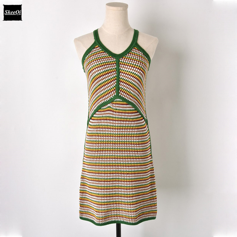 2018 New Spaghetti Strap Knit Sweater Dresses Women Sleeveless Color Block Stripe Knitted Casual Dress Summer Knitwear Vestidos