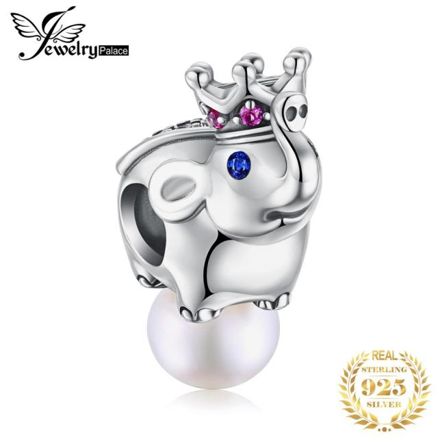 JewelryPalace Created Ruby Crown Elephant On Pearl Bead Charm Fit Bracelets 925 Sterling Silver Bead Charm Fit Bracelets