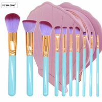 10Pcs Bag Professional Makeup Brushes Shell Case Kit Portable Comestic Bag Makeup Tools Foundation Blush Eyebrow