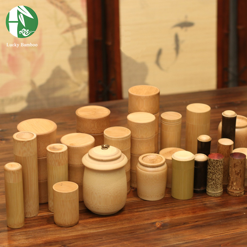 Bamboo Wooden Tea Canister Straight Buckle Boxes Of Storage Container Small  Spices Organizer With Lids Cabinet