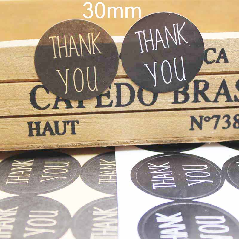 100PCS Kraft Vintage Thank You Stickers Seal Labels 3cm Size Custom Logo Cost Extra