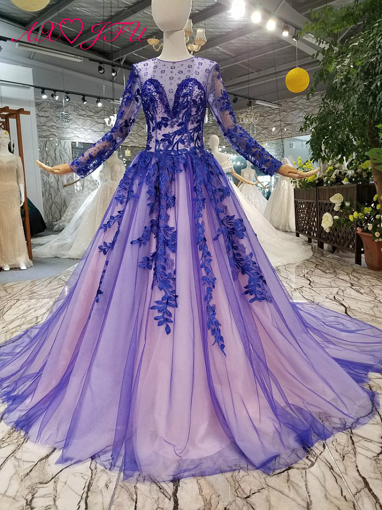 AXJFU luxury princess vintage navy blue flower   evening     dress   o neck blue diamond long   evening     dress   100% real photo 147001
