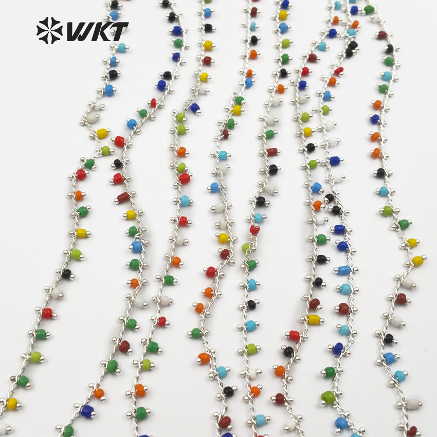 WT RBC059 WKT Multi Colors Random Bead In Gold Or Silver Electroplated Wire Wrapped Resin Bead