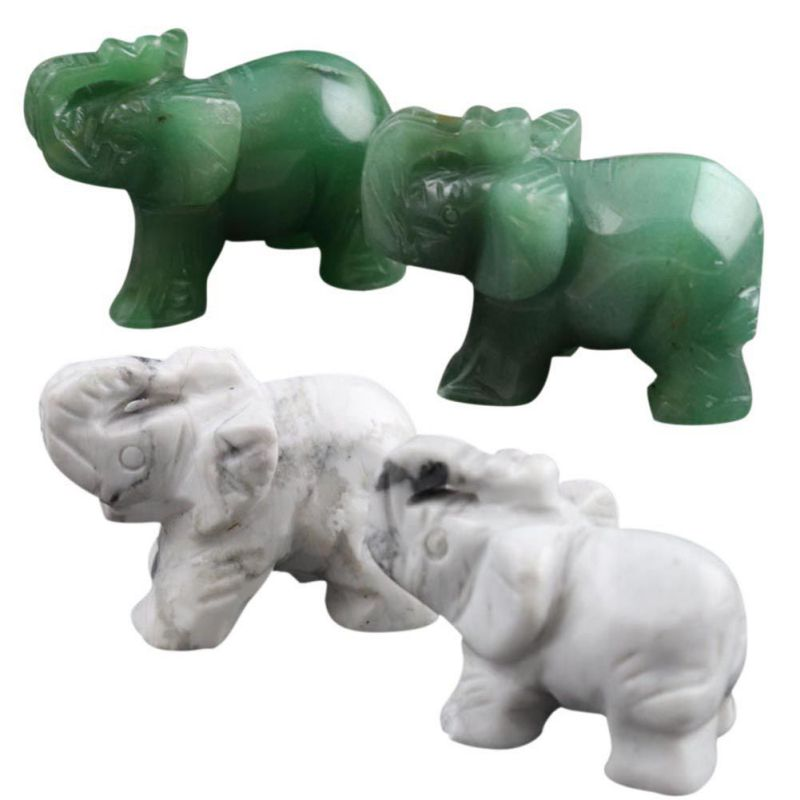 1pc Opal/Aventurine/Obsidian/Crystal/Jade Elephants Shape Stone Creative Home Desk Ornaments Figurines Miniatures Lucky Item