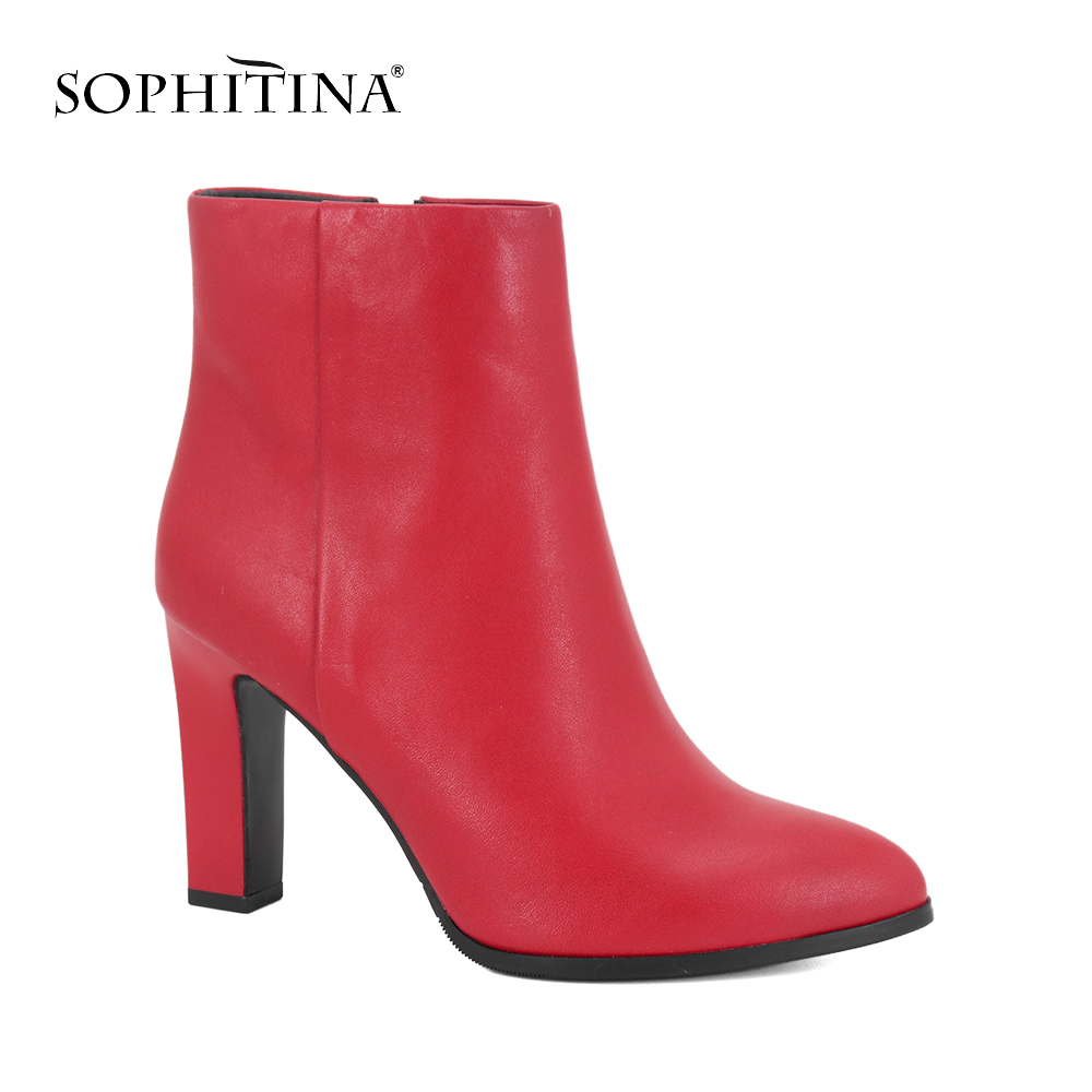SOPHITINA 2019 New Female Ankle Boots Genuine Leather Boots Warm Comfortable Square Heels Lady Shoes Classic