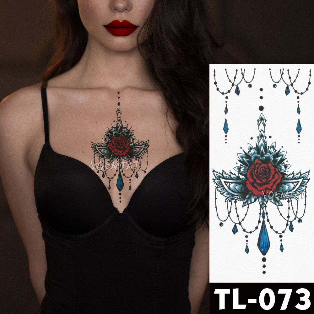 Water Transfer Deep Red Lace Rose Temporary Tattoo Sticker
