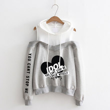 LUCKYFRIDAYF Fashion K-pop IDOL Pattern printing womens hip hop hooded Love Yourself off-shoulder Hoodie sweatshirt