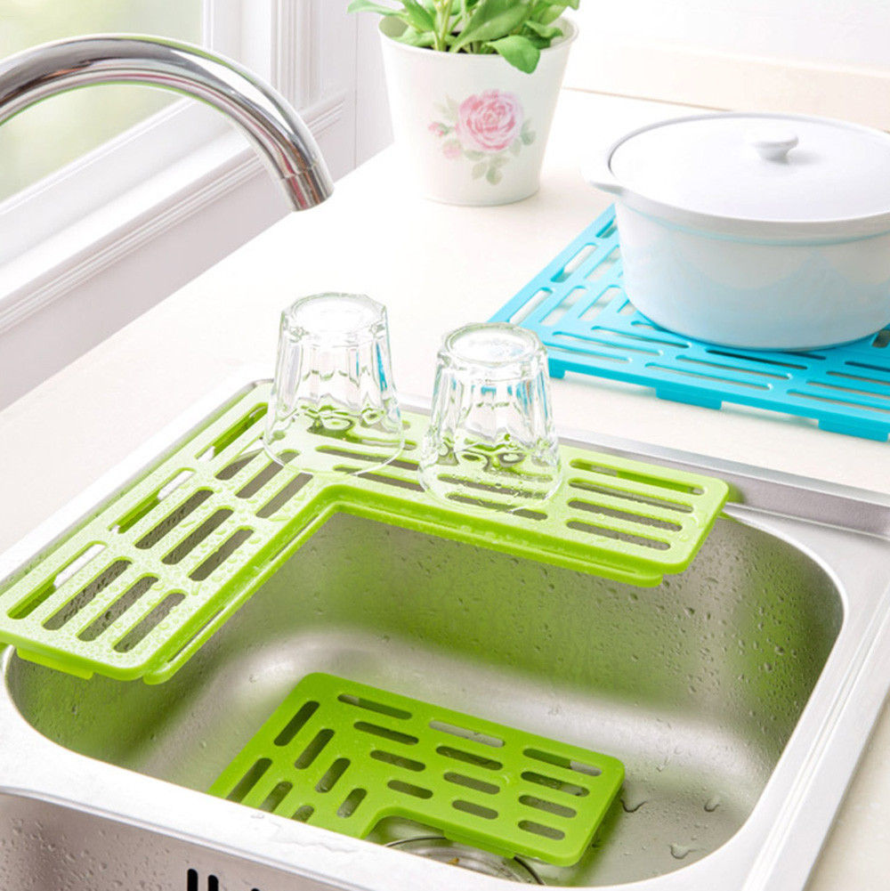 US $0.29 23% OFF|Kombination Sink Shelf Soap Sponge Kitchen Sink  Accessories Wash Drain Net Filter Mat Dishwasher Cup Drain Pad Storage  Suction-in ...