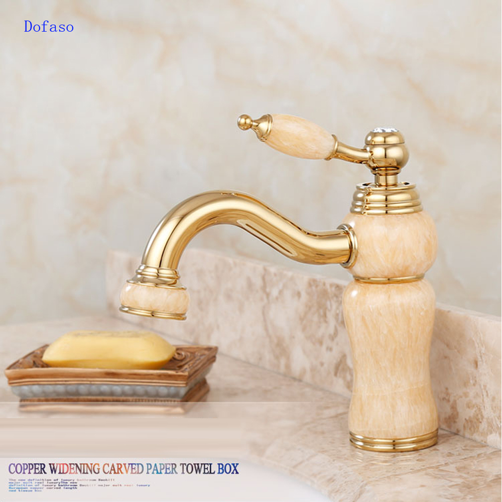 Dofaso bathroom beautiful gold luxury bath golden jade faucet brass cold and hot taps