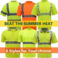 Hi-Viz SICUREZZA T-Shirt arancione manica corta estate t-shirt dry fit traspirante hi vis riflettente giallo maglietta lavoro spedizione gratuita