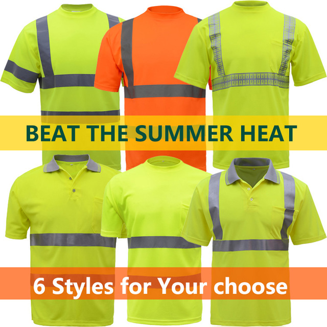 Hi-Viz SAFETY T-Shirt orange  short sleeve reflective t-shirt summer dry fit breathable hi vis yellow work t shirt free shipping