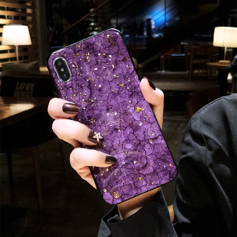 Luxury Gold Foil Glitter Marble Phone Case For iPhone X XS Max XR Bling Soft Silicon Cover Cases For iPhone 7 8 6 6s Plus Fundas in Fitted Cases from Cellphones Telecommunications