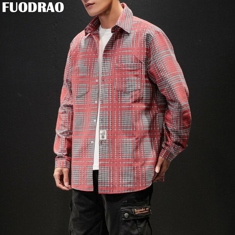 008e21203fddfd6 Fuodrao в стиле хип-хоп Уличная мужская клетчатая рубашка полный рукав  рубашки Для мужчин Harujuku